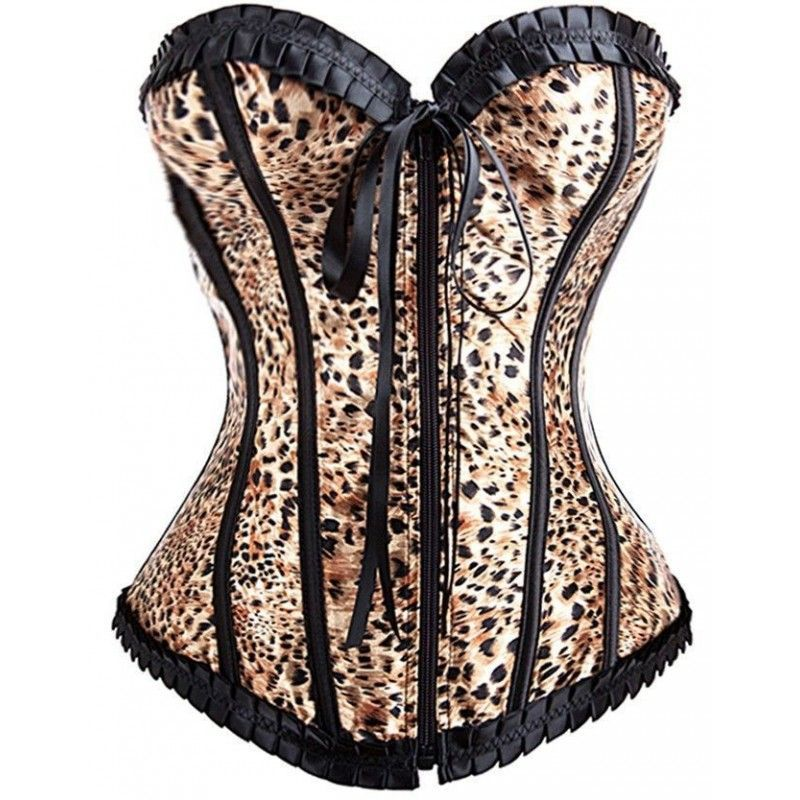 Leopard print satin corset with trimmed loop and zipper