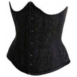 Corset underbust in black satin brocade
