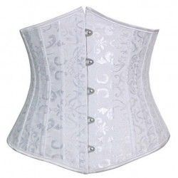 Underbust corset in white brocade satin with steel rods 24
