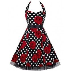 Vintage Sweetheart Neckline Halter Backless Polka Dot Flower Casual Swing Knee-length