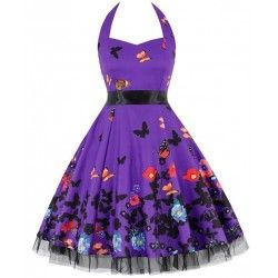 Vintage Sweetheart Neckline Halter Backless Butterfly Flower Print Casual Swing Knee-length Dress