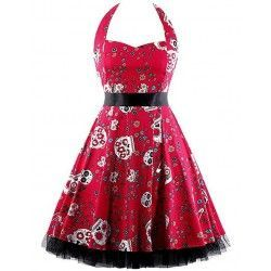 Vintage Sweetheart Neckline Halter Backless Skull Print Casual Swing Knee-lengt