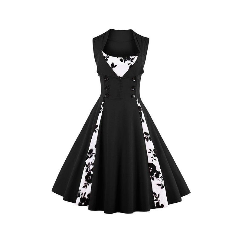 Vintage Rockabilly Floral Print Sleeveless Casual Cocktail Dress