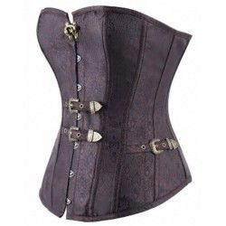 Retro steampunk corset with buckles and brown floral design