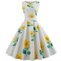 White round neck sleeveless sunflowers printed  dress