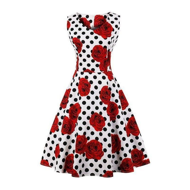 White vintage dress with polka dot print and roses