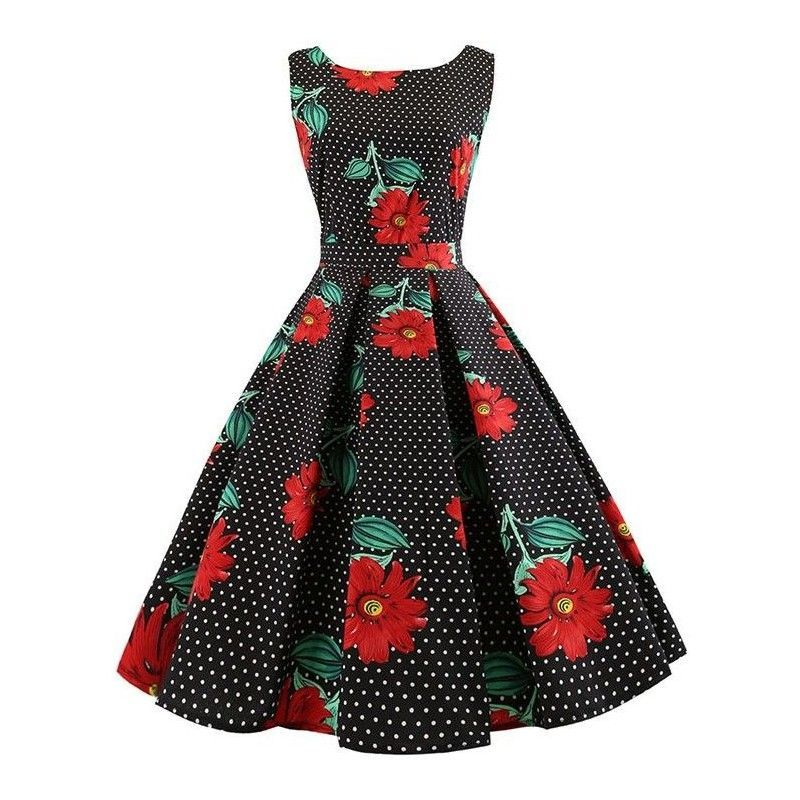 Black dot women's retro round neckline sleeveless red gerbera printed swing summer day dress