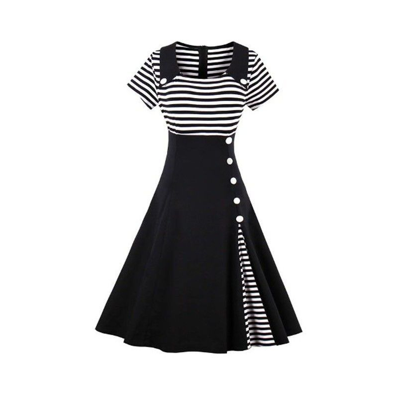 Women's fashion vintage short sleeve splicing swing dress