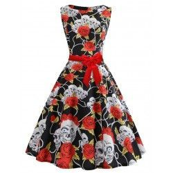 Super faddish red sleeveless skull a line swing dress