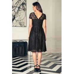 Black elegant one piece party lace vintage dress