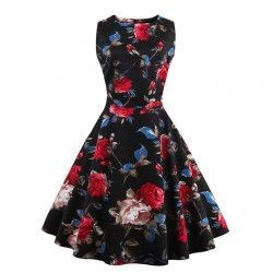 Vintage black dress covered rose floral