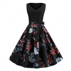 Black vintage dress unique flower printed skirt splice