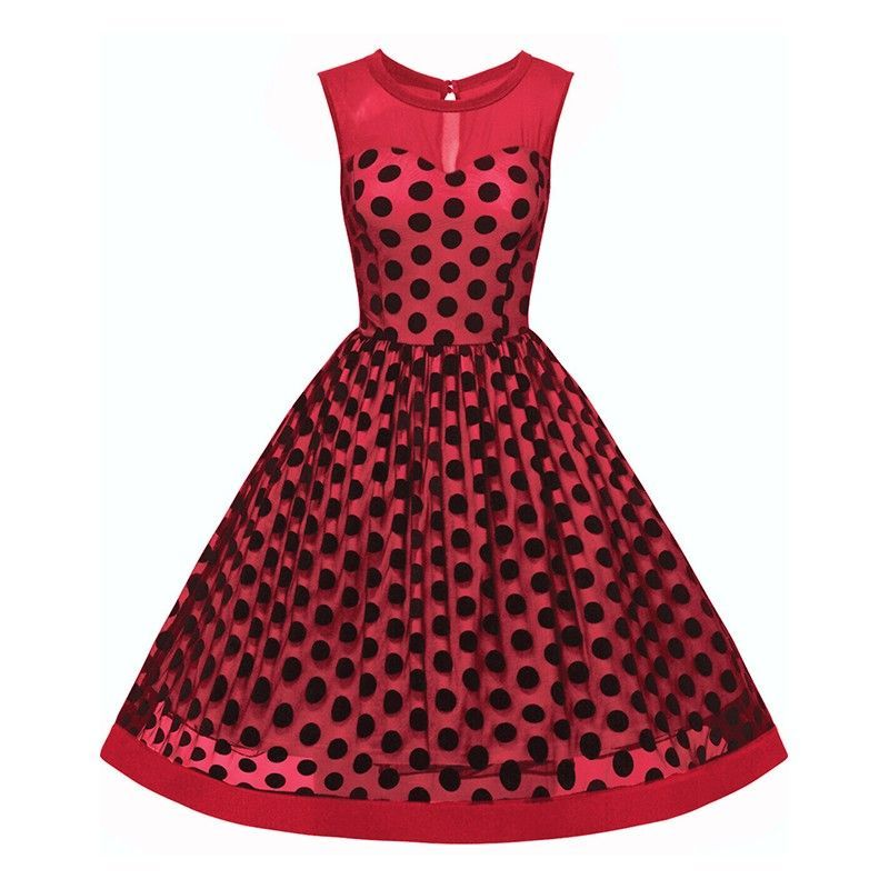 Vintage polka dot print mesh dress