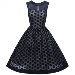 Black vintage polka dot...