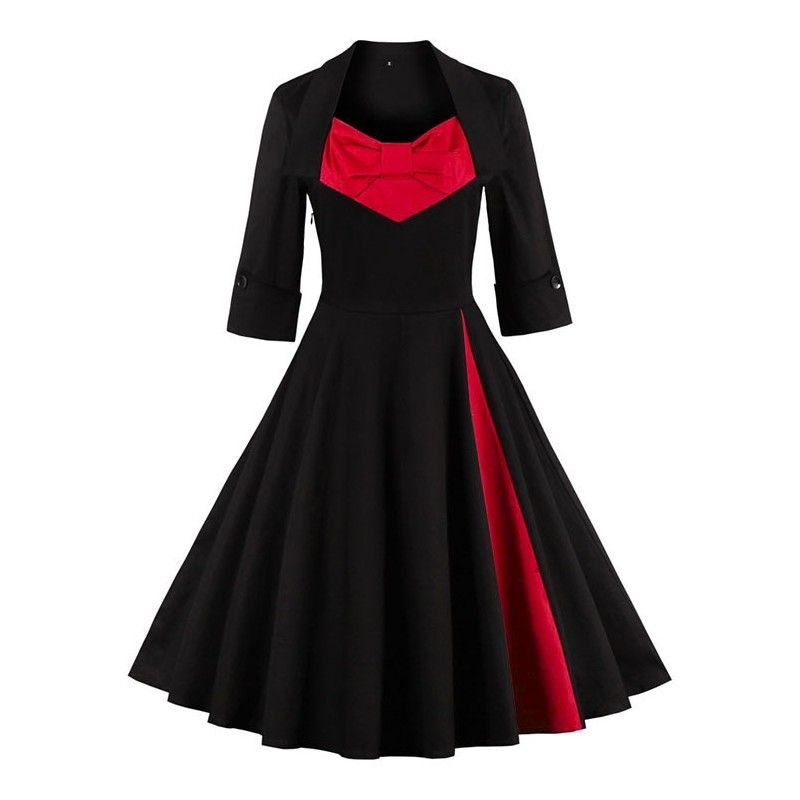 Vintage black dress featuring unique turn down collar with red bowknot joining