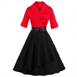 Red and black half sleeves A-Line asymmetrical vintage dress