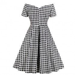 Black and white check pattern off shoulder short sleeves high waist a line vintage dress