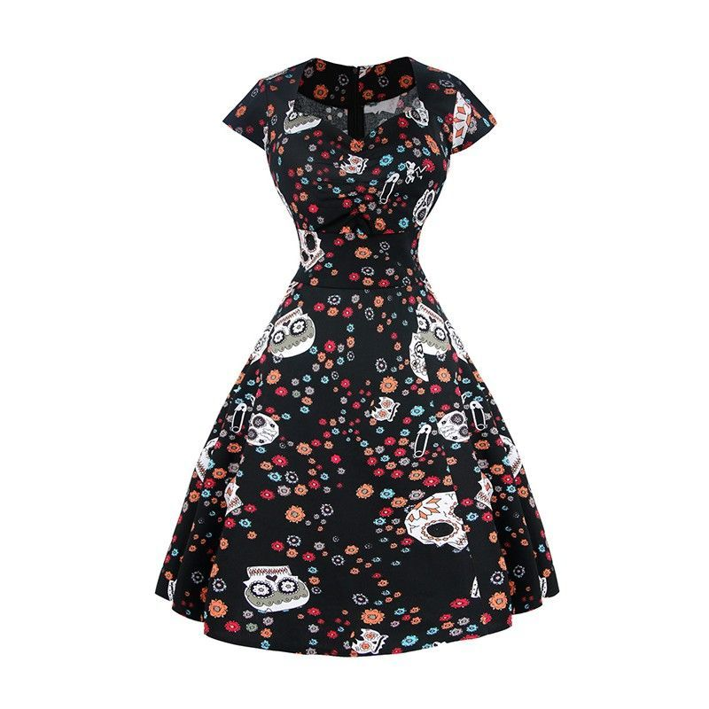 Black vintage dress with unique flowers skull spot print pattern