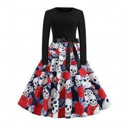 Fashion ghost flower printed long dleeve high waist vintage dress