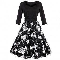 Vintage black 3/4 length sleeves floral print dress