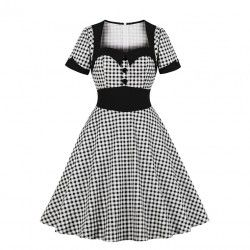 Vintage black and white check lapel short sleeve high waist A-line midi dress