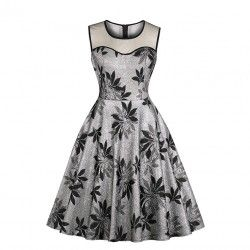 Elegant silver floral pattern see-through bodice sleeveless high waist A-line vintage dress