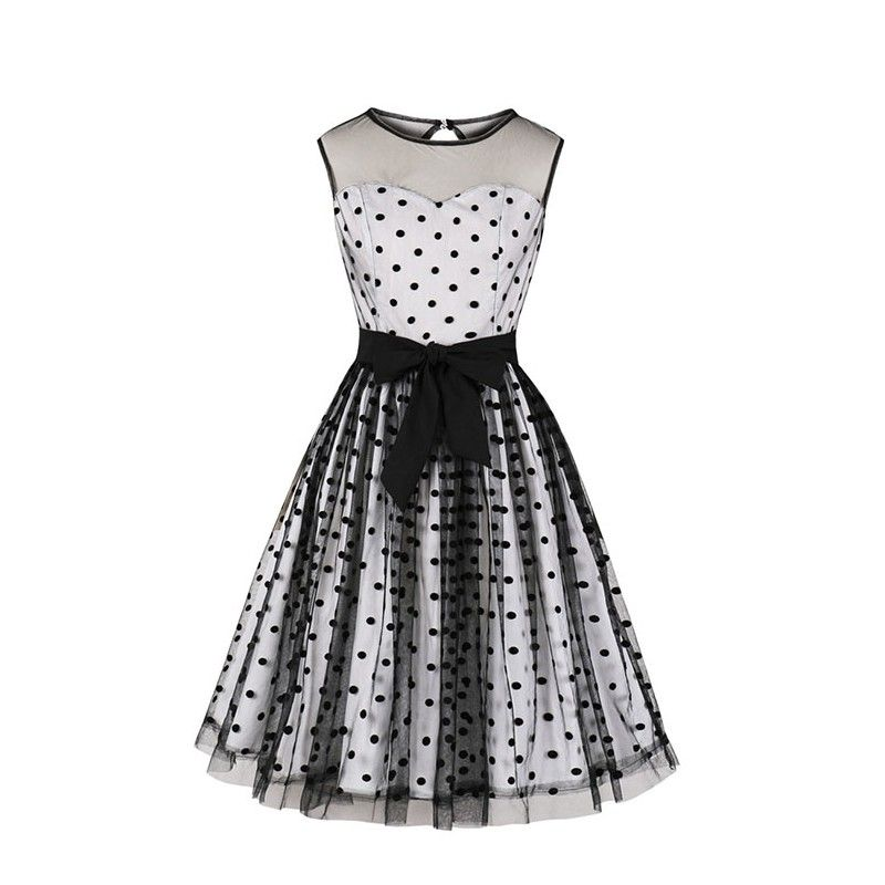 Vintage sheer mesh overlay polka dots sweetheart bodice sleeveless party midi dress