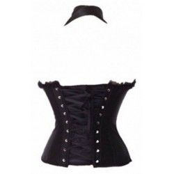 Black strapless corset with lace and neck