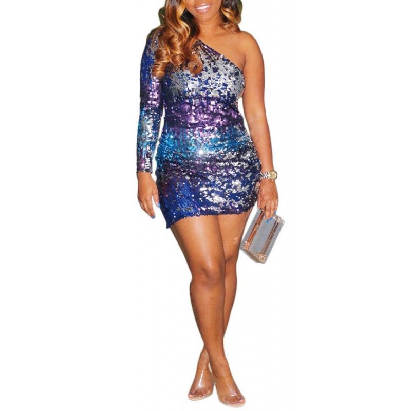 Sexy sloping shoulder sequined mini dress