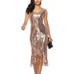 Particularly V Neck sleeveless sequin tassel evening dress