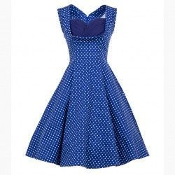 Vintage blue polka midi swing dress