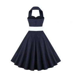 Vintage blue halter casual swing dress