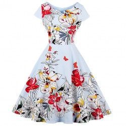Vintage swing dress, covered with charming big flower and butterfly pattern