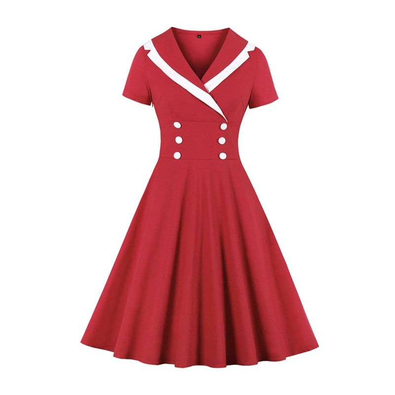 Vintage classic double-breasted midi dress