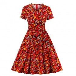 Vintage floral print V neck short sleeve high waist pocket party A-line dress.