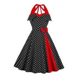 Retro halter polka dots bowknot detail backless high waist vintage dress
