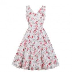 Vintage floral print V neckline sleeveless frock summer dress