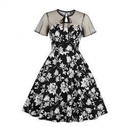 Vintage sheer mesh patchwork heart-shaped bodice floral printed dress