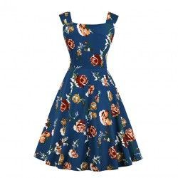Vintage floral pattern sweetheart bodice wide shoulder straps cocktail dress