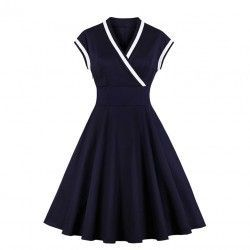 Vintage dark-blue V-neck cap sleeve high waist midi A-line dress