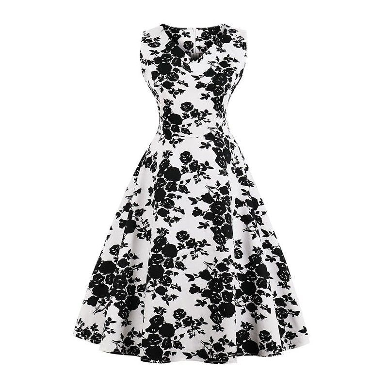 Vintage Black/White Sleeveless V Neck Floral Print Midi Swing Party Dress
