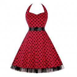 Vintage Sweetheart Neckline Halter Backless Polka Dot Casual Swing Knee-length Dress