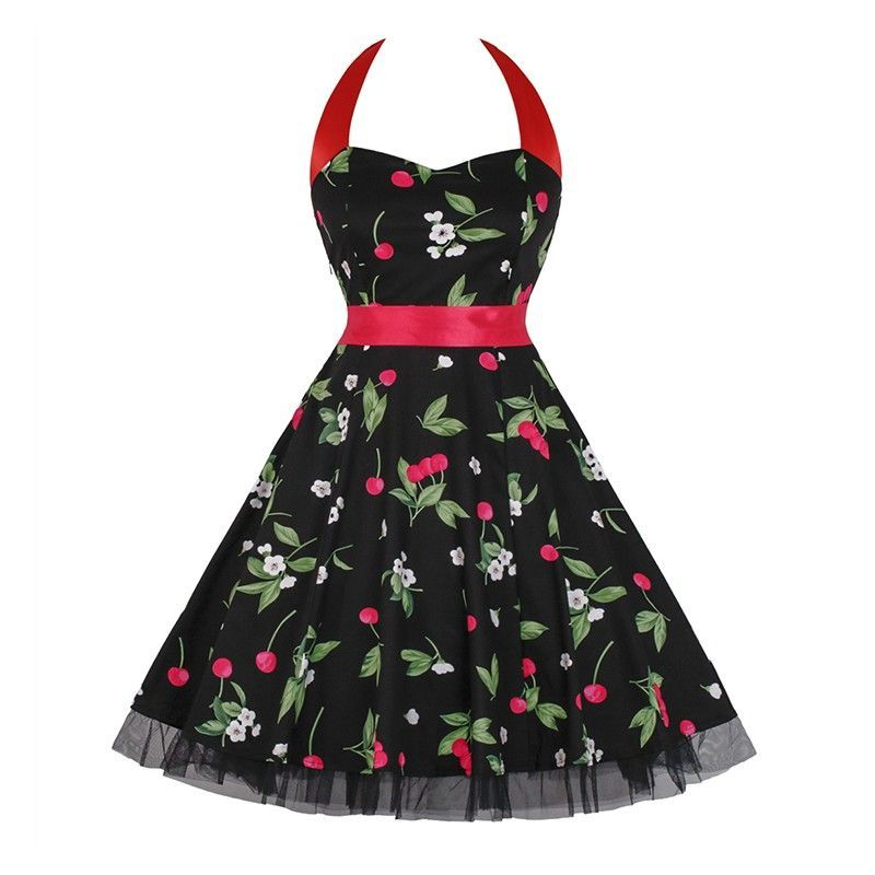 Vintage Sweetheart Neckline Halter Backless Cherry Print Casual Swing Knee-length Dress