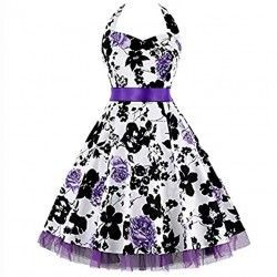 Vintage Sweetheart Neck Halter Backless Flower Print Casual Swing Knee-length Day Dress