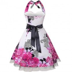 Royal Court Vintage Sweetheart Neck Halter Western Floral Print Casual Swing Knee-length Dress