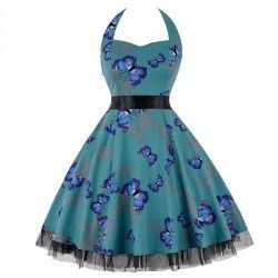Vintage Sweetheart Neckline Halter Backless Butterfly Print Casual Swing Knee-length Dress