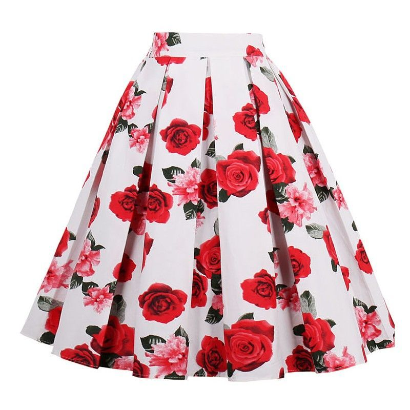 Vintage Red Rose Print High Waisted Flared Pleated Skirt