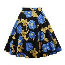 Vintage Casual Black Floral Print High Waist Flared Midi A-Line Skirt