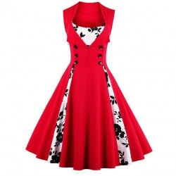 Red vintage floral print sleeveless dress