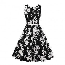 Vintage sleeveless floral print dress